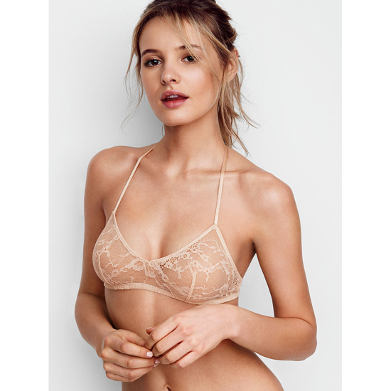 Cheap VICTORIA'S SECRET Champagne NEW! Lace & Mesh Scoopneck Bralette Online