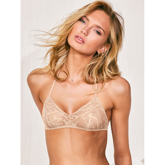Cheap VICTORIA\'S SECRET Champagne NEW! Lace & Mesh Scoopneck Bralette Online