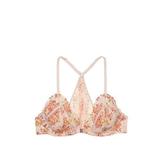Cheap VICTORIA\'S SECRET Champagne Floral Printed Lace NEW! Front-Close Unlined Bralette Online