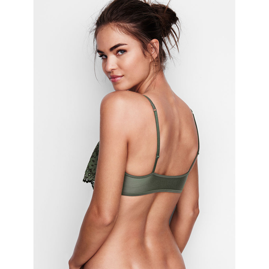 Cheap VICTORIA\'S SECRET Cadette Green Lace NEW! The Flutter Bralette Online