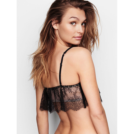 Cheap VICTORIA\'S SECRET Black With Chantilly Lace NEW! Crochet Lace Flutter Bralette Online