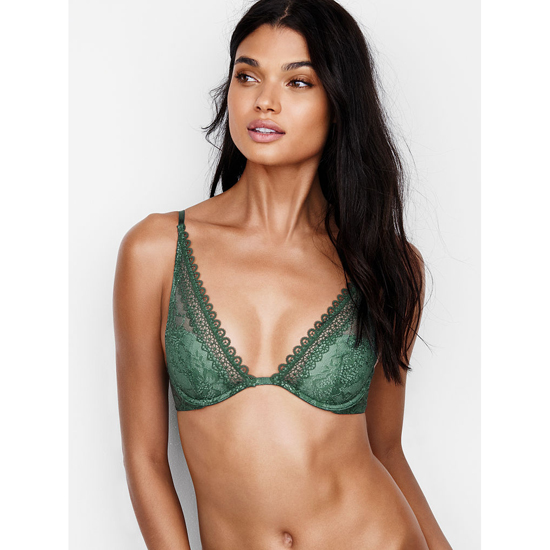 Cheap VICTORIA\'S SECRET Cadette Green With Silver Sea Crochet Lace Triangle Bra Online