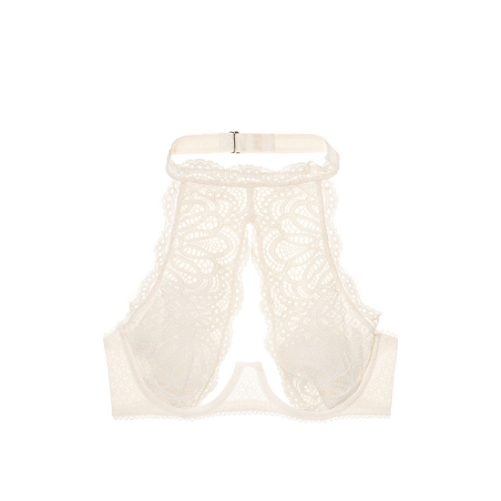 Cheap VICTORIA\'S SECRET Coconut White Lace NEW! Crochet Lace High-neck Bra Online