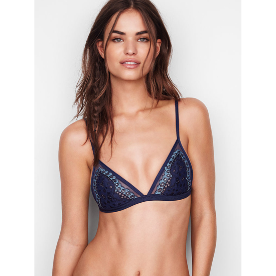 Cheap VICTORIA\'S SECRET Ensign With Faded Denim Crossdye NEW! Lace Triangle Bralette Online