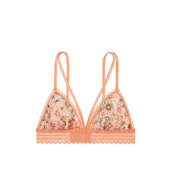 Cheap VICTORIA\'S SECRET Gold Earth Print Strappy Crochet Lace Triangle Bralette Online