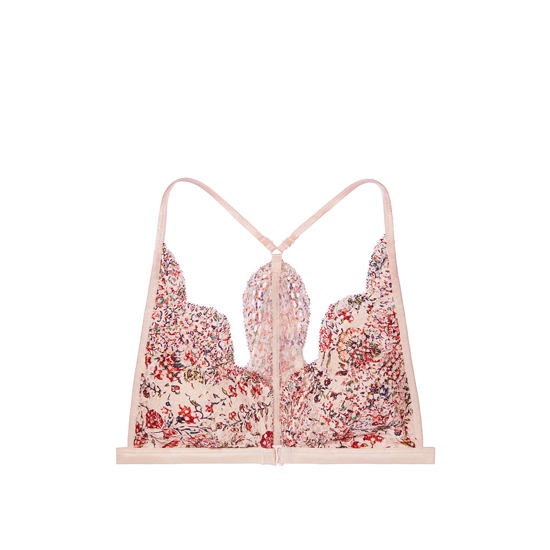 Cheap VICTORIA\'S SECRET Sheer Pink Floral Print Allover Lace Front-close Bralette Online