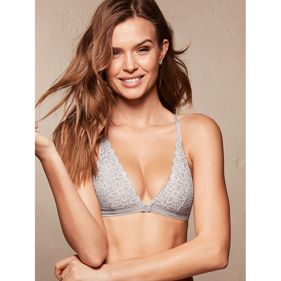 Cheap VICTORIA\'S SECRET So Silver Daisy Lace Front-close Bralette Online