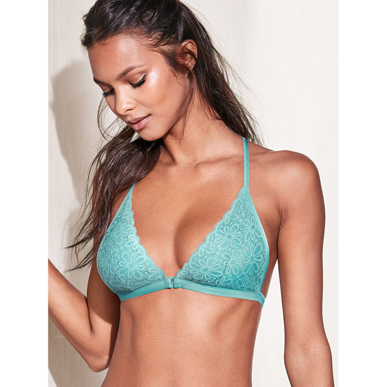 Cheap VICTORIA\'S SECRET Cozumel Teal Daisy Lace Front-close Bralette Online