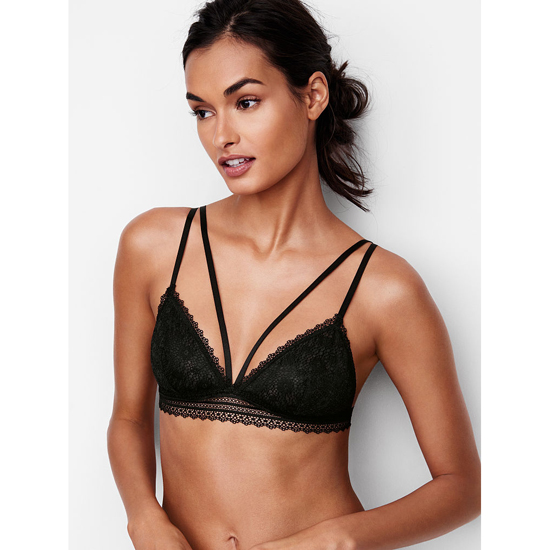 Cheap VICTORIA\'S SECRET Black Strappy Crochet Lace Triangle Bralette Online