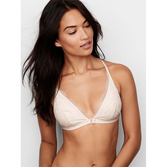Cheap VICTORIA\'S SECRET Coconut White Crochet Lace Front-close Bralette Online