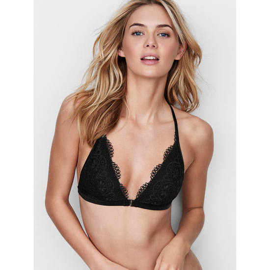 Cheap VICTORIA'S SECRET Black Crochet Lace Front-close Bralette Online