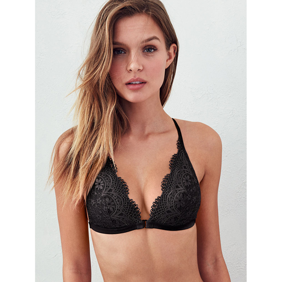 Cheap VICTORIA\'S SECRET Black Crochet Lace Front-close Bralette Online