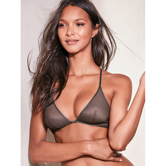 Cheap VICTORIA\'S SECRET Black Pearl Textured Mesh NEW! Mesh Front-close Bralette Online