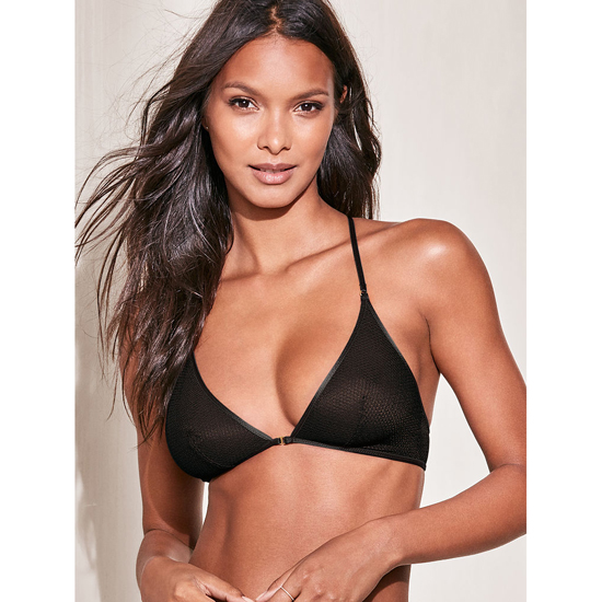 Cheap VICTORIA\'S SECRET Black Textured Mesh NEW! Mesh Front-close Bralette Online