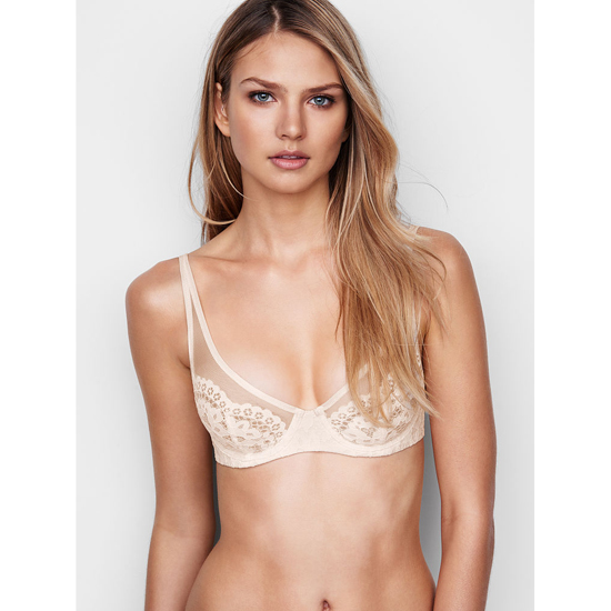 Cheap VICTORIA\'S SECRET Coconut White W/ Coconut White Lace Lace Plunge Unlined Demi Bra Online