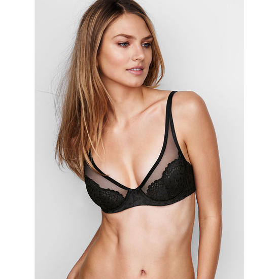 Cheap VICTORIA\'S SECRET Black W/ Black Lace NEW! Lace Plunge Unlined Demi Bra Online