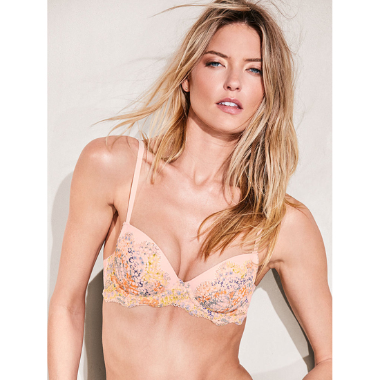 Cheap VICTORIA\'S SECRET Pink Ivory Floral Printed Lace Demi Bra Online