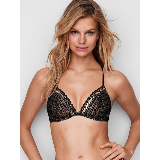 Cheap VICTORIA\'S SECRET Black Lace Lightly Lined Triangle Bralette Online