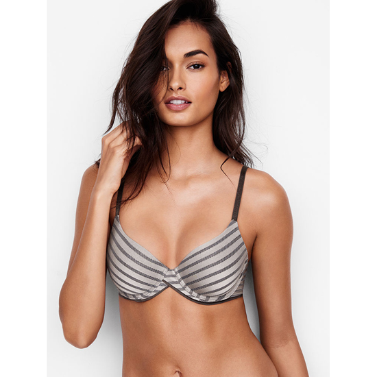 Cheap VICTORIA\'S SECRET Sterling Pewter Textured Stripe NEW! Demi Bra Online