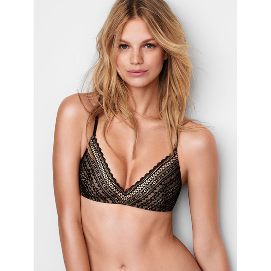 Cheap VICTORIA\'S SECRET Black Lace Lightly Lined Wireless Bra Online