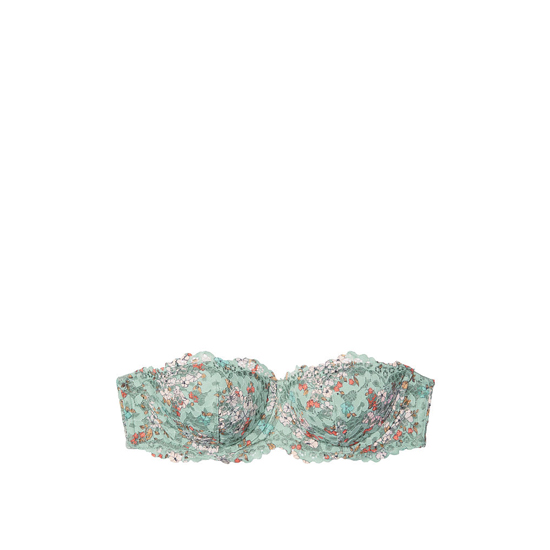 Cheap VICTORIA\'S SECRET Silver Sea Floral Printed Lace NEW! Strapless Balconet Bra Online