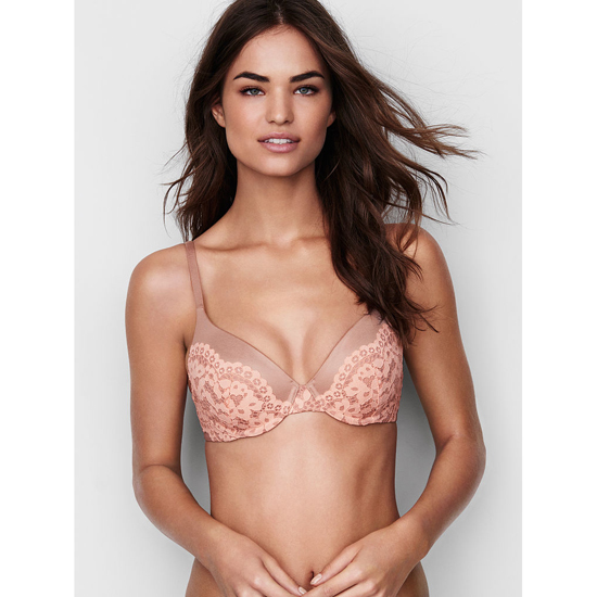 Cheap VICTORIA\'S SECRET Powder Blush With Peach Melba Crochet Lace NEW! Perfect Coverage Bra Online