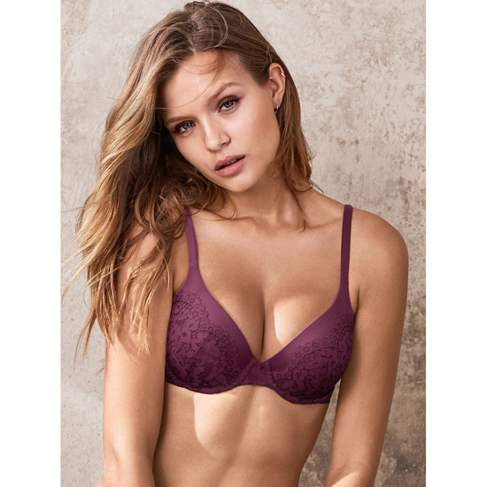 Cheap VICTORIA\'S SECRET Ruby Wine Crochet Lace NEW! Perfect Coverage Bra Online