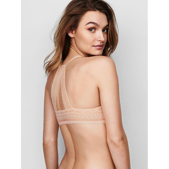 Cheap VICTORIA\'S SECRET Champagne Triangle Lace Racerback Perfect Coverage Bra Online