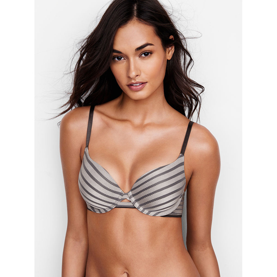 Cheap VICTORIA'S SECRET Sterling Pewter Textured Stripe NEW! Perfect Shape Bra Online