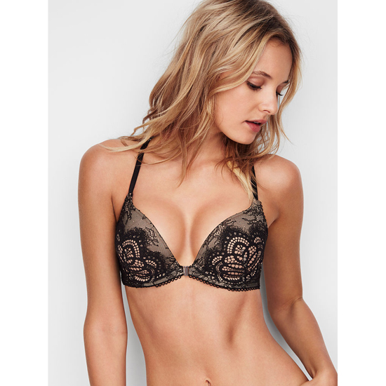 Cheap VICTORIA\'S SECRET Front-Close Black Lace With Chantilly Lace NEW! Push-Up Bra Online
