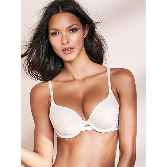 Cheap VICTORIA\'S SECRET Coconut White Textured Stripe Perfect Shape Bra Online