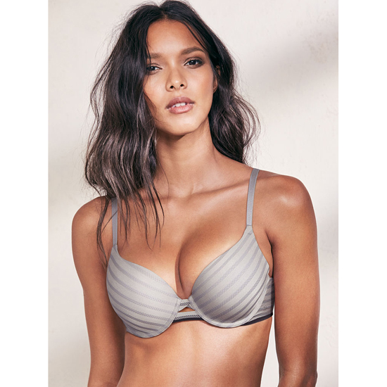 Cheap VICTORIA\'S SECRET Sterling Pewter Textured Stripe Perfect Shape Bra Online