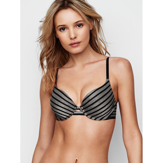 Cheap VICTORIA\'S SECRET Black Textured Stripe NEW! Perfect Shape Bra Online