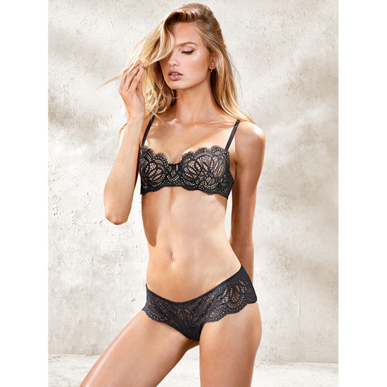 Cheap VICTORIA\'S SECRET Black Lace NEW! The Unlined Uplift Bra Online