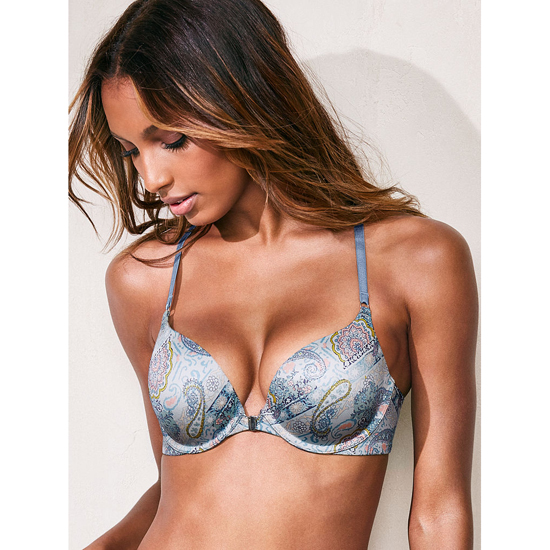 Cheap VICTORIA\'S SECRET Caravan Faded Denim Print NEW! Strappy Push-Up Bra Online