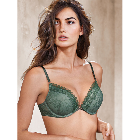Cheap VICTORIA\'S SECRET Cadette Green With Silver Sea Crochet Lace NEW! Add-2-Cups Push-Up Bra Online