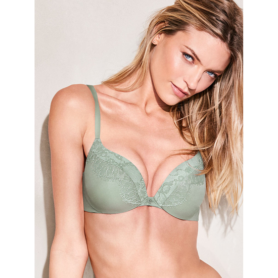 Cheap VICTORIA\'S SECRET Silver Sea With Lace Trim Add-1-Cups Push-Up Bra Online