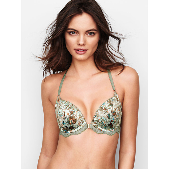 Cheap VICTORIA\'S SECRET Front-Close Old Havana Print With Silver Sea Push-Up Bra Online