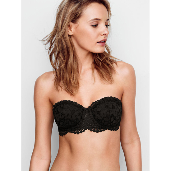 Cheap VICTORIA'S SECRET Black Lace NEW! Strapless Balconet Bra Online
