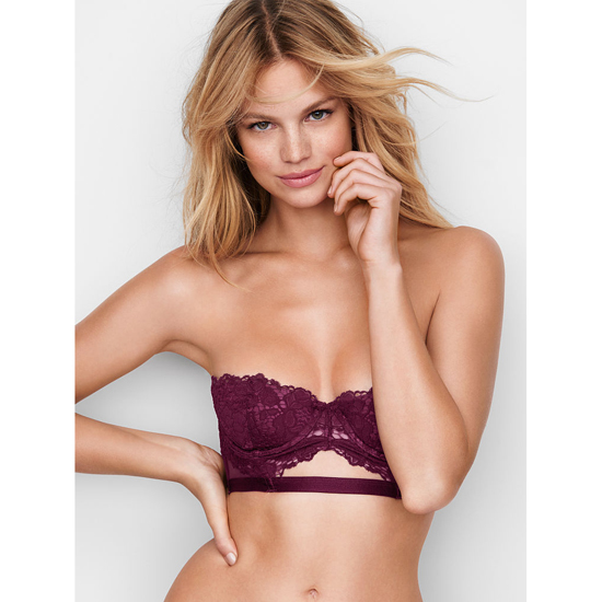 Cheap VICTORIA'S SECRET Ruby Wine With Sweet Plum Strapless Lace Bustier Online