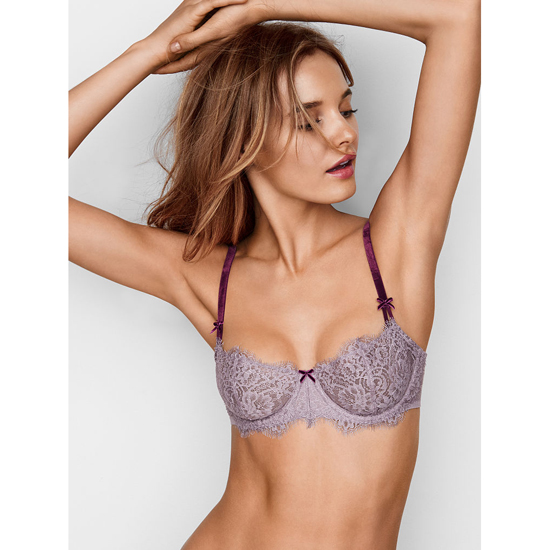 Cheap VICTORIA'S SECRET Sunset Grey Lace With Ruby Wine NEW! The Unlined Uplift Bra Online