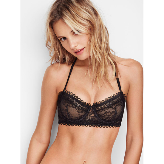 Cheap VICTORIA'S SECRET Black NEW! Lace & Mesh Unlined Strapless Bra Online