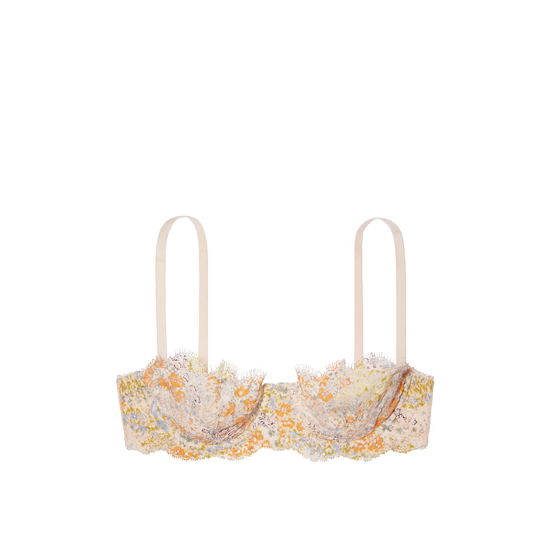 Cheap VICTORIA\'S SECRET Pink Ivory Floral Printed Lace NEW! The Unlined Uplift Bra Online