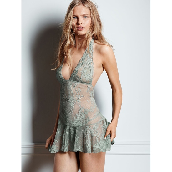 Cheap VICTORIA\'S SECRET Silver Sea Lace Halter Babydoll Online
