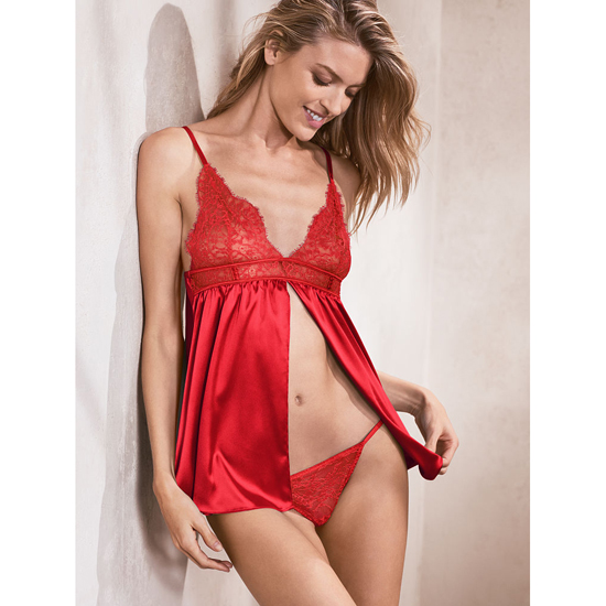 Cheap VICTORIA\'S SECRET Bright Cherry Satin & Lace Babydoll Online