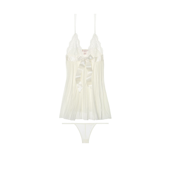 Cheap VICTORIA'S SECRET Ivory Pleated Babydoll Online