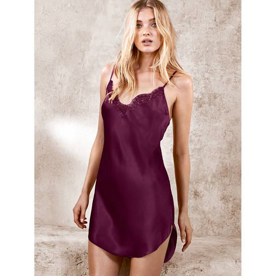 Cheap VICTORIA\'S SECRET Ruby Wine NEW! Lace-trim Satin Slip Online