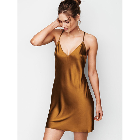 Cheap VICTORIA\'S SECRET Bronze Brown NEW! Crossback Satin Slip Online