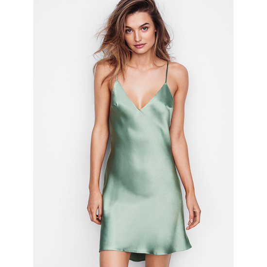 Cheap VICTORIA'S SECRET Silver Sea NEW! Crossback Satin Slip Online