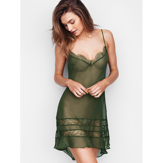 Cheap VICTORIA\'S SECRET Cadette Green NEW! Chiffon & Lace Slip Online